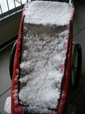 Stroller in the hail